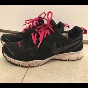 Pink black Nike shoes